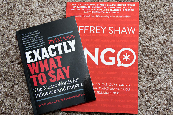 Books Exactly What to Say by Phil M Jones and Lingo by Jeffrey Shaw